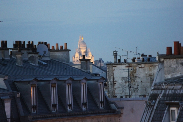 Sacré Coeur, as seen from my window with a loooong zoom. But still. Visible!
