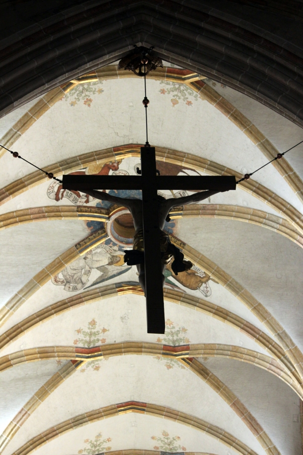 Main Crucifixion display in the church hanging in front of the  altar.