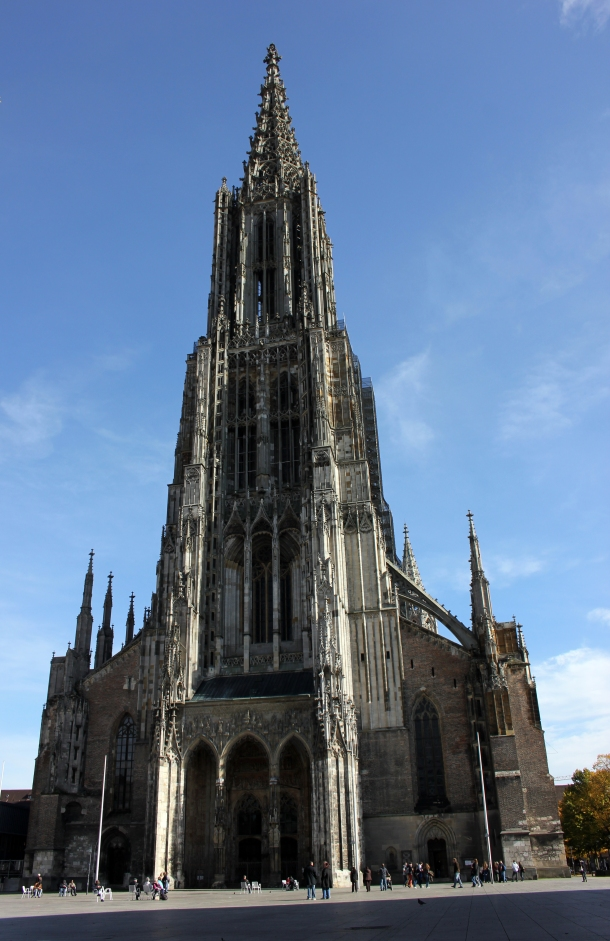 The Münster, from the outside (and quite far away to get it all in the shot.) Admittedly less terrifying during the day.