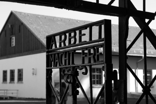The entrance gate. Inscription reads: Arbeit Macht Frei--Work will set you free.