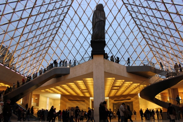 Inside the main entry of the Louvre-that legendary glass pyramid of light.