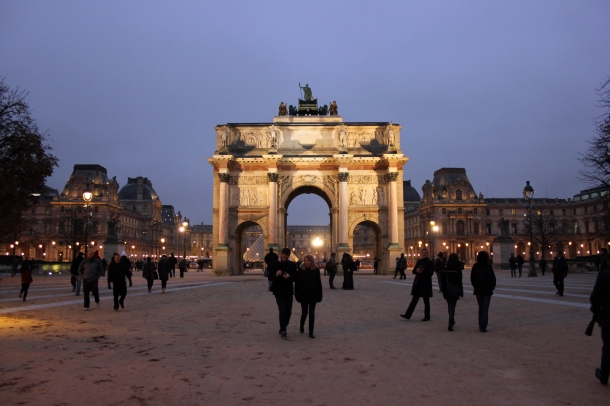 The Arc de Triomphe du Carrousel, designed the same year (but finished much earlier, as it is much smaller) as the Arc de Triomphe straight up the Champs Elysées. Napoleon's ego in monument form, ladies and gentlemen.