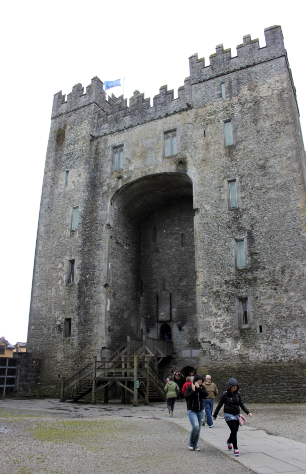 Outside Bunratty castle, about to make a mad dash to the door as the rain swooped in...