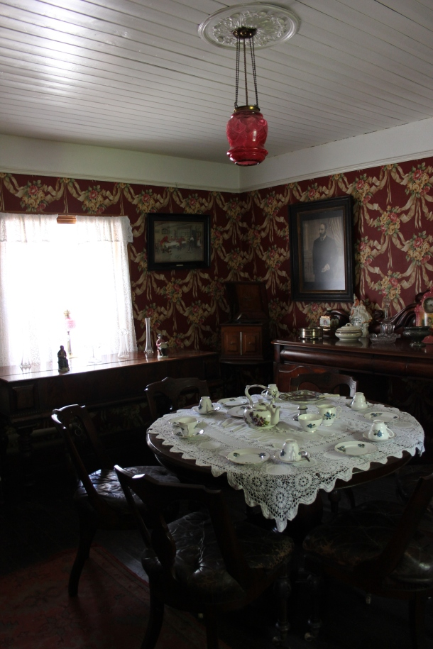 The dining room of one of the houses on the grounds of Bunratty Castle.