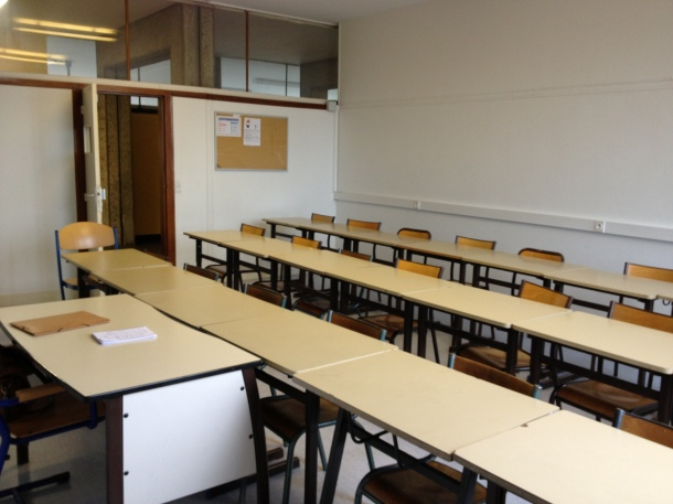 A secondary classroom I use for my one class that has 17 students, who literally can't all fit in the other room.