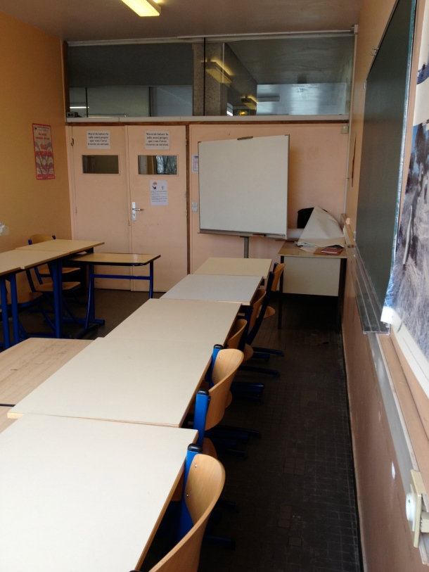 By the way...finally took school pictures. This is my NORMAL classroom. Zero technology. Chalk and whiteboard.