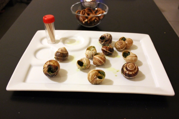 Luckily, we had some appetizers. Like these lovely little escargot, my first ever! Frozen and baked, but still pretty good!