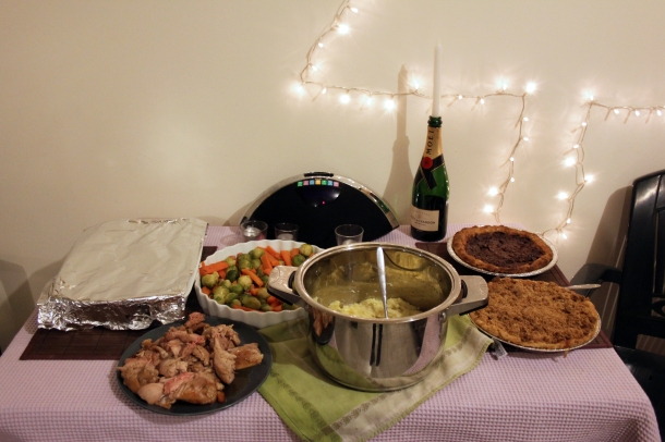 The full spread laid out (minus cranberry sauce on the table and gravy on the stovetop.)