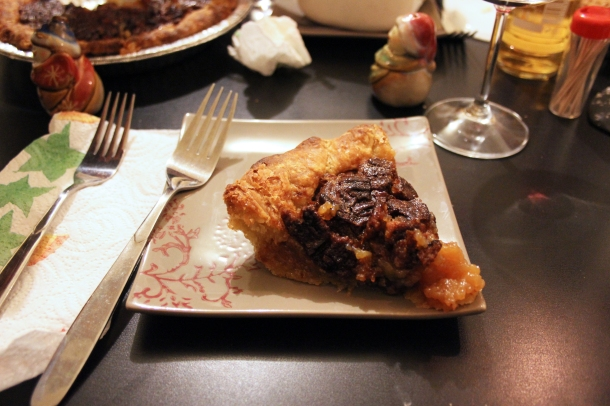 Pecan pie. Suffocatingly sweet and sticky...gotta love it. (In small doses, that is.)