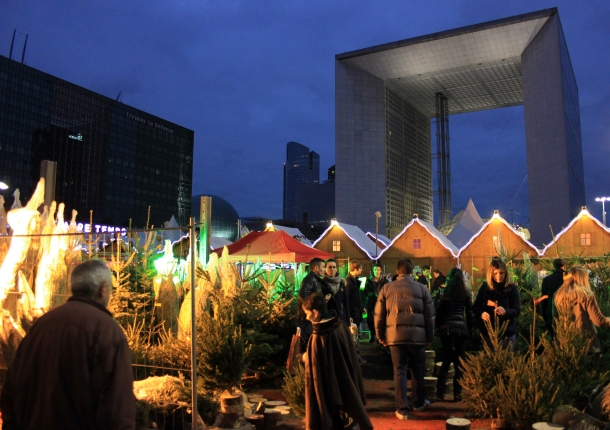 Christmas trees for sale at the La Défense market.