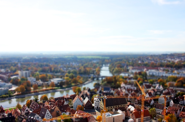 View of Ulm/Neu Ulm, Germany, from the Münster Church Steeple.