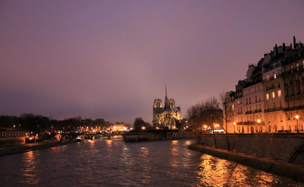 The Seine & back of Notre Dame.