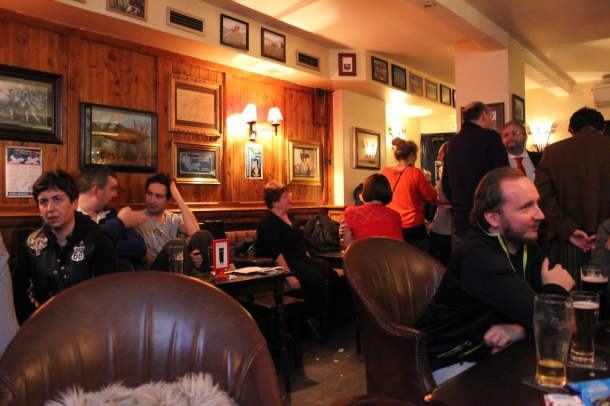Inside the Highlander Scottish Pub...alas, there were kilts aplenty but none in the photo!