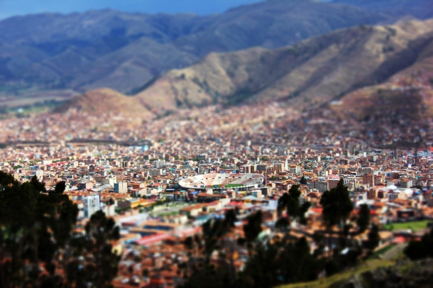Looking down on the city of Cajamarca, Peru