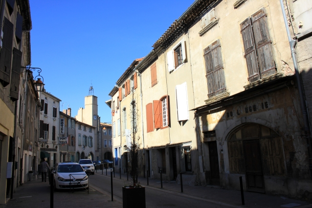 Old part of Carcassonne, charmingly small alleyways lined with restaurants and small shops.