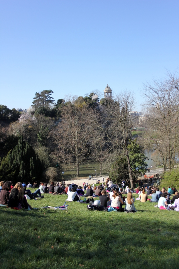View from where we parked it on the hill at Buttes-Chaumont for a picnic.