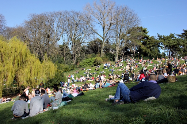 #18—True to form, on one of the first warm days of the year, the Parc des Buttes Chaumont was instantly swarmed with picnicking Parisians.