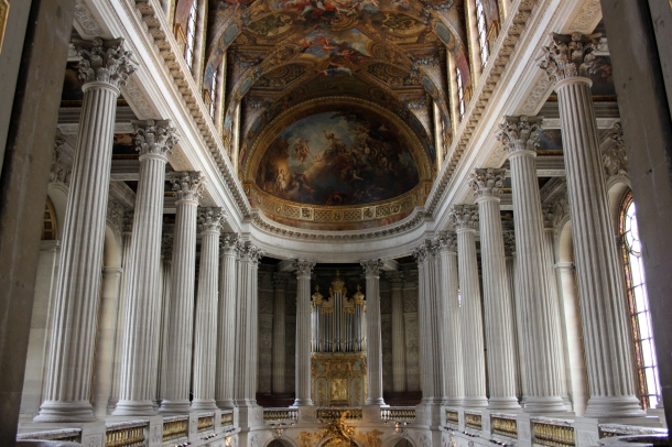 The chapel--several stories tall and, as with the rest of the palace, appropriately luxurious for a royal family.