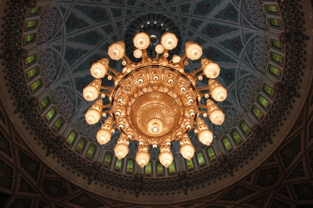 So here's the giant chandelier from below. The rotunda from which it hangs is impressive in its own right as well--just look at the color and detail!