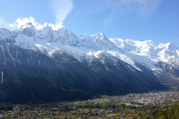 Chamonix spread out before me from the view of  Chalet La Floria--helps to understand the true size of the majestic mountains.