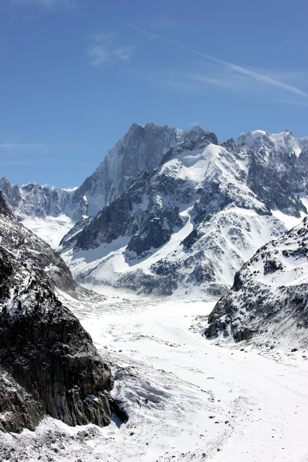 A chunk of the Mer de Glace (Sea of Ice) in the distance from my viewpoint.