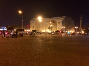 The infamous Tahrir Square, which, to my surprise, is often inhabited at night by locals who sit on the fake grass and chat or have picnics.