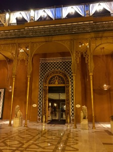 Part of the elaborate front façade of the Mariott hotel, Zamaalek. There was some sort of party going on up there.