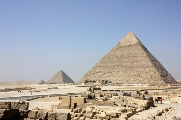 On the right, Khafre's pyramid, with Menkaure's on the left--the tinies pyramid in the back is actually for one of Menkaure's wives.