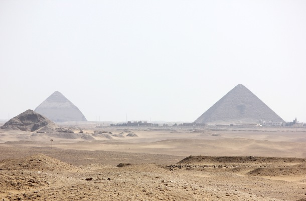 Left: Broken pyramid (aka they got the angle wrong. Seriously, this one was a screw up so they built another.) Right: The Red pyramid.