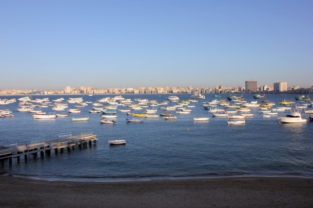 The harbor as seen from the Greek Club